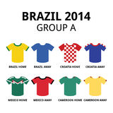 World Cup Brazil 2014 - group A teams football jerseys Royalty Free Stock Photo