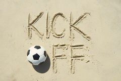 World Cup Brazil Kick-Off Message in Sand Royalty Free Stock Photography
