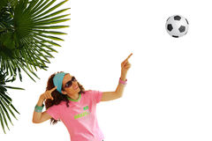Woman pointing Upwards to Soccer Ball Royalty Free Stock Photography