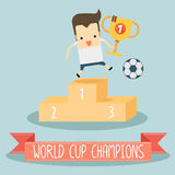 World cup champions. The man with world cup champions vector Stock Photography