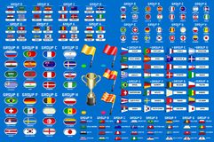 World Cup Championship Groups Schedule. Football World championship groups. Set of four different flag illustration. Vector flag collection. 2018 soccer world Stock Photography