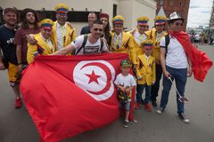 World Cup 2018. Colombian and Tunisian football fans 21.06.2018 Stock Photography