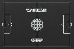 World Cup. Concept with a Football Field and a Globe on a Black Chalkboard Stock Images