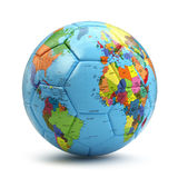 World cup concept. Soccer or football ball with world map. Royalty Free Stock Image