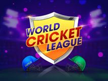 World Cup Cricket match concept with winning shield and cricket attire helmets on shiny purple background. World Cup Cricket match concept with winning shield vector illustration