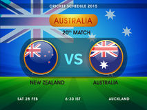World Cup 2015 Cricket match schedule. Cricket World Cup 2015 schedule showing 20th  match between Australia vs New Zealand with match date, time and place Royalty Free Stock Photography