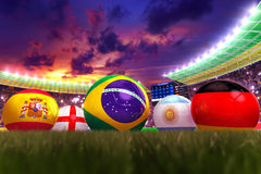 World cup 2014. 3D rendering of footballs in the year 2014 in a football stadium Royalty Free Stock Photo