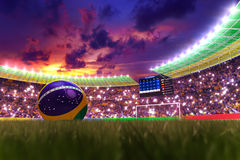 World Cup 2014. 3D rendering of footballs in the year 2014 in a football stadium Royalty Free Stock Photography