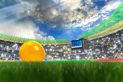 World Cup 2014. 3D rendering of footballs in the year 2014 in a football stadium Stock Photography