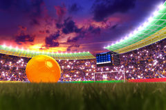 World Cup 2014. 3D rendering of footballs in the year 2014 in a football stadium Stock Photos