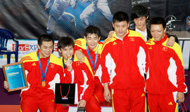World cup fencing. Stage winners Stock Photos