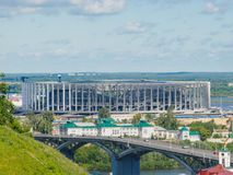 World cup FIFA 2018 stadium in Nizhny Novgorod. The construction of stadium for world cup 2108 in Nizhny Novgorod, Russia. Copy space Stock Images