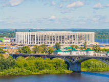 World cup FIFA 2018 stadium in Nizhny Novgorod. The construction of stadium for world cup 2108 in Nizhny Novgorod, Russia. Copy space Stock Photos