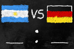 World Cup Finalists. Black board with flags of Argentinia and Germany, the finalists of the soccer world cup 2014 in brazil Royalty Free Stock Image