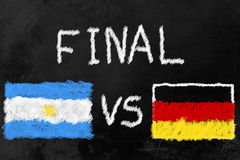 World Cup Finalists. Flags of Argentinia and Germany and the Word Final on a Blackboard. Germany and Argentinia are the two finalists of the soccer world cup Stock Image