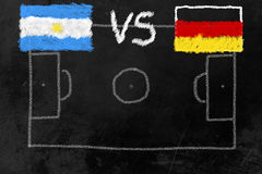 World Cup Finalists. Soccer field on a black board with flags of Argentinia and Germany, the finalists of the soccer world cup 2014 in brazil Stock Photography