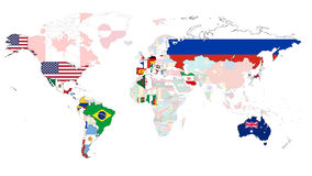 2014 World cup Flag Map. World map of the competing 2014 football world cup countries Royalty Free Stock Images