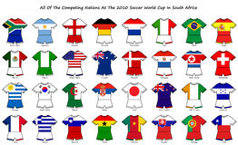 World cup flag strip designs. A collection of kit shaped flags of all of the national soccer teams competing at the 2010 world cup finals in south africa stock illustration