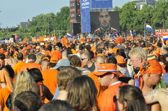 World cup football. The Netherlands, Amsterdam, museumplein.11-july-2010 FIFA World Cup Final, Netherlands-Spain. Dutch supporters watching the game Stock Photography
