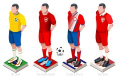 World Cup Football Shirts Vector. Soccer world cup a group of players with team shirts flags and ball. Isometric football vector illustration Royalty Free Stock Photo