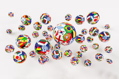 World Cup football. Soccer ball with flags of different countries Stock Photo