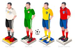World Cup Football Team Vector. Soccer world cup a group of players with team shirts flags and ball. Isometric football vector illustration Stock Photography
