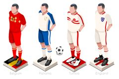 World Cup Football Uniform Vector. Soccer world cup a group of players with team shirts flags and ball. Isometric football vector illustration Royalty Free Stock Image