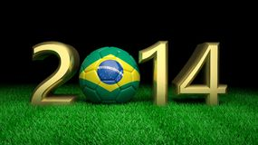 World cup. Gold 2014 with Brazilian soccer ball on grass vector illustration