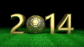 World cup. Gold 2014 with gold world soccer ball on grass Stock Images