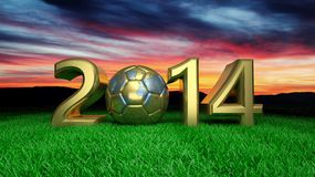 World cup. Gold 2014 with gold soccer ball on grass vector illustration