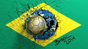 World cup. Gold soccer ball breaking though wall with Brazilian flag Royalty Free Stock Photo
