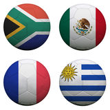 World Cup Group A. Soccer balls with flags. South Africa World Cup 2010 Group A Stock Photo