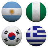 World Cup Group B. Soccer balls with flags. South Africa World Cup 2010 Group B stock illustration