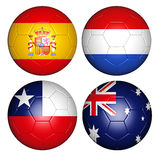 World cup 2014 group B. Brazil world cup 2014 group B flags on soccer balls Royalty Free Stock Images