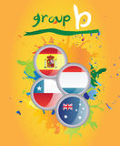 World cup group b. On yellow background Stock Photos