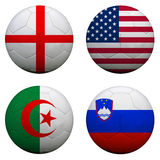 World Cup Group C. Soccer balls with flags. South Africa World Cup 2010 Group C Royalty Free Stock Photos