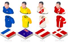 World Cup Group C Jersey Set. Russia 2018 soccer world cup group c of players with team shirts jersey flags. Referee Russia soccer 2018 championship football Royalty Free Stock Photography