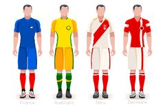 World Cup Group C Jerseys Kit. Soccer world cup a group of players with team shirts flags and ball. referee football vector illustration Stock Photo