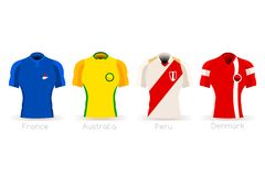 World Cup Group C Team Uniform. Soccer world cup a group of players with team shirts flags and ball. referee football vector illustration Royalty Free Stock Image