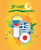 World cup group c. On yellow background Stock Photo