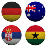 World Cup Group D. Soccer balls with flags. South Africa World Cup 2010 Group D stock illustration