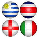 World cup 2014 group D. Brazil world cup 2014 group D flags on soccer balls Royalty Free Stock Photography