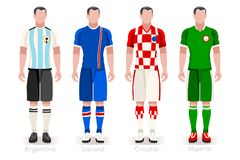 World Cup Group D Jerseys Kit. Soccer world cup a group of players with team shirts flags and ball. referee football vector illustration Stock Photo