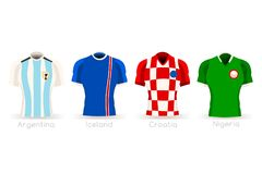 World Cup Group D Team Uniform. Soccer world cup a group of players with team shirts flags and ball. referee football vector illustration Stock Image