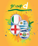 World cup group d. On yellow background Royalty Free Stock Photos