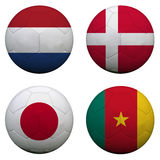 World Cup Group E. Soccer balls with flags. South Africa World Cup 2010 Group E Stock Image