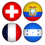 World cup 2014 group E. Brazil world cup 2014 group E flags on soccer balls Vector Illustration