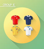 World cup group e  with jerseys Royalty Free Stock Photos