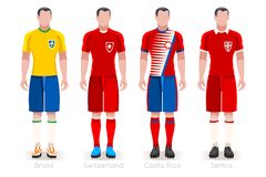 World Cup Group E Jerseys Kit. Soccer world cup a group of players with team shirts flags and ball. referee football vector illustration Royalty Free Stock Images