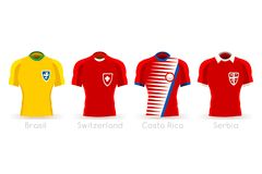 World Cup Group E Team Uniform. Soccer world cup a group of players with team shirts flags and ball. referee football vector illustration Stock Photos